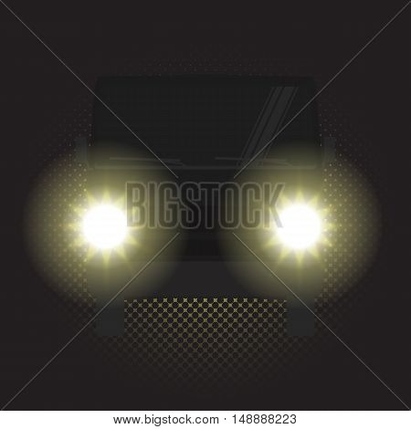 Night car, truck with headlights in the dark, vector illustration. Yellow headlights and car in the dark. Night headlights on road. Car silhouette in the dark.