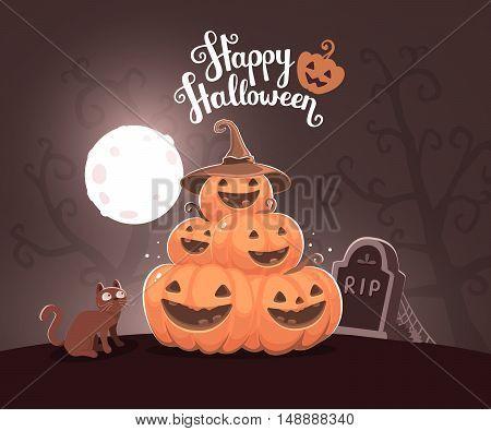 Vector Halloween Illustration Of Pile Of Decorative Orange Pumpkins With Hat, Eyes, Smiles, Cat, Web