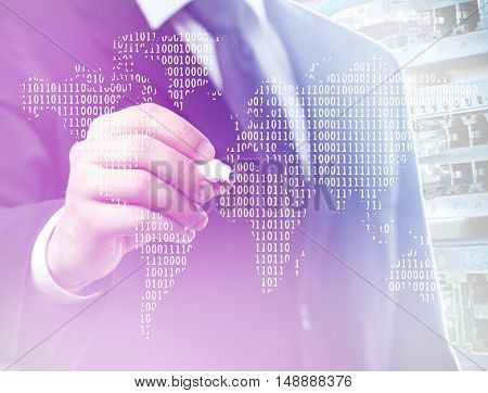 Businessman working with binary code on virtual screen. Modern technology concept.
