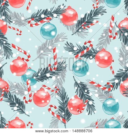 New year seamless pattern. Watercolor painting. Christmas background 19
