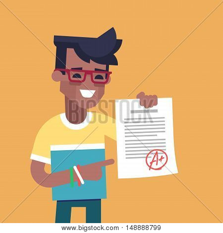 A cute african american student holding sheet with the highest mark. Excellent pupil showing the best result test. Cartoon character. Vector illustration flat design.