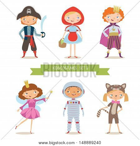 Different kids costumes vector illustration. Children party costumes. Pirate, Red Riding Hood, prince, fairy, astronaut and kitten costume. Cartoon vector illustration of boys and girls in different costume