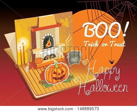 Halloween pop-up book. Vector Illustration of a Halloween Background