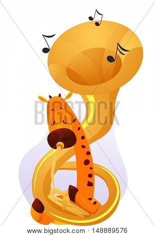 Animal Mascot Illustration Featuring a Cute Giraffe Playing  with a Large Tuba Wrapped Around its Neck