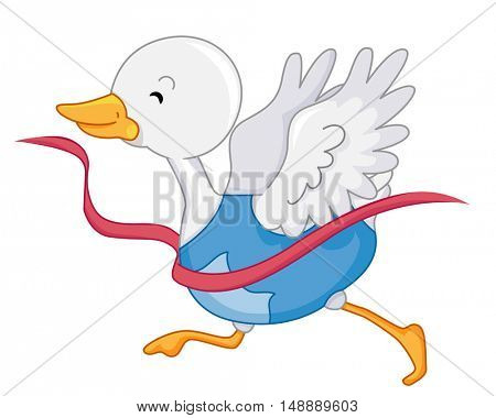 Animal Mascot Illustration Featuring a Happy White Duck Breaking Through the Race Tape