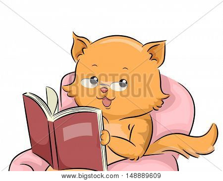 Animal Mascot Illustration Featuring a Cat in Glasses Reading a Book on the Couch