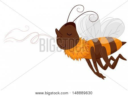 Animal Mascot Illustration Featuring a Euphoric Honeybee Following a Sweet Scent