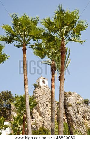 Belfry behind Palm Trees. This tower belongs to Alcozaiba fortress built by muslims at XI century. Picture taken in El Castell de Guadalest Alicante Spain.
