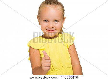 Little smiling girl with blond hair making ok sign