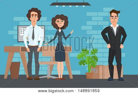 Business Professional Work. Businesspeople Or Office Workers In Interior Building, Characters, Disgr