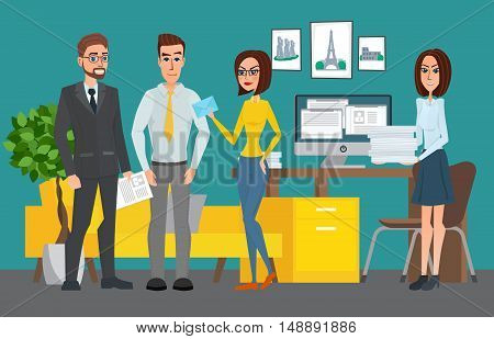 Business Professional Work Team. Shared Working Environment. People Talking And Working At The Compu