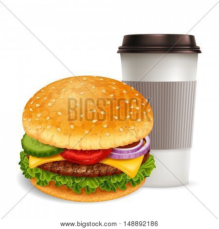 Big tasty hamburger with hot coffee in paper cup. Lovely snack. Realistic vector illustration. Isolated on white background.