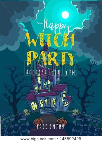 Halloween Party Poster. Halloween vector illustration with scary house, moon and pumpkin. Background with haunted house to dark night. Horror and creepy landscape.