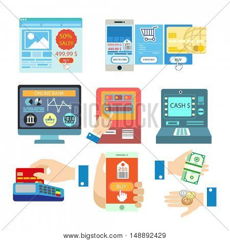 Vector illustrations with online banking payment. Set of payment methods: credit card and mobile app, terminal and internet, bank transfer and cash. Buy and money symbols. Isolated on white background