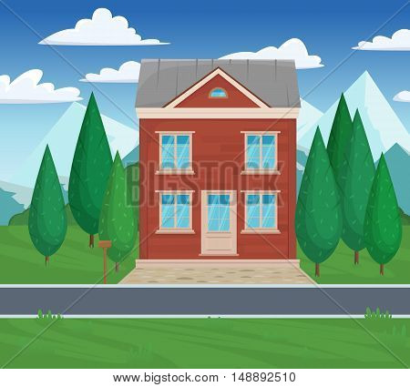 Mountain Alpine Landscape Summer House Against The Backdrop Of Green Pine Trees. Cartoon Vector Flat