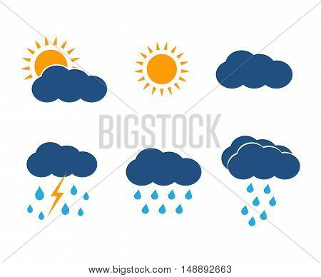 Vector weather icons set. Sun, clouds, rain and lightning in color flat style design illustration