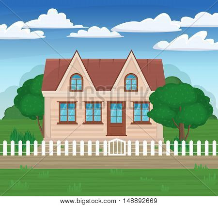 Vector Illustrations Modern House On The Nature With A White Fence And Green Trees. Family Home. Rur