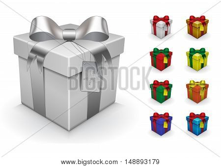 Vector realistic gift box template with eight samples. You can color it yourself, just use layers box color, bow color, card color and string color.