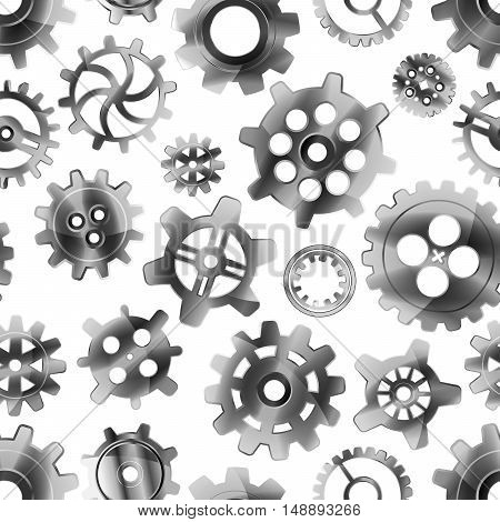 Realistic glossy metal cogwheels on white seamless pattern