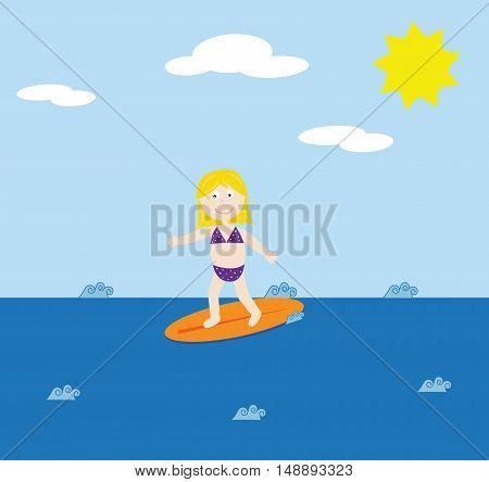 Surfer Girl Wearing Bikini Swimsuit Bathingsuit Smiling