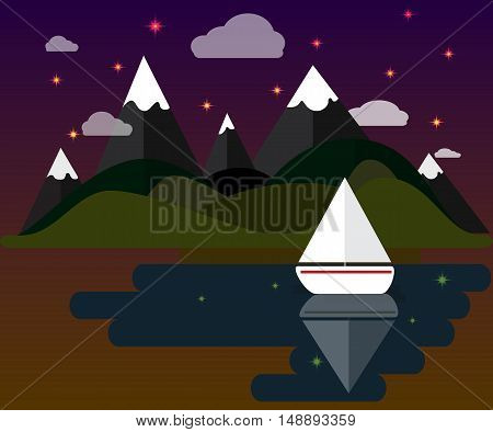 Beautiful vector nature landscape with boat, forest, stars and mountains. Flat natural objects, calming night atmosphere. Vector forest nature, night stars, calm beautiful scene.