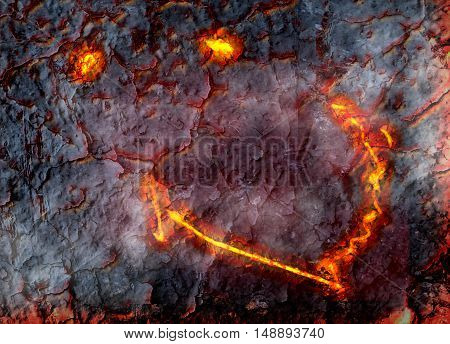illustration composition about a strange phenomenon of smiling Hawaiian Kilauea volcano looking like eyes and smile seen from above its crater. Located in Big Island Hawaii United States.