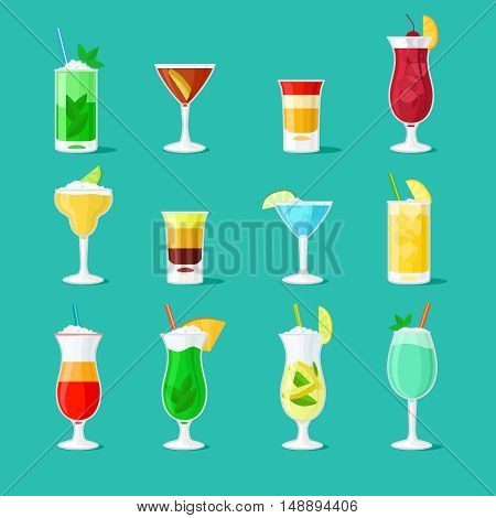Cocktail vector flat icons. Party drinks glass vector set for bar or pub menu