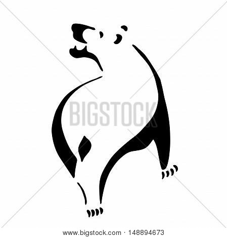 Very high quality original illustration of bear for tattoo or logo