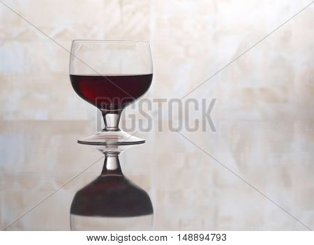 Wine glasses bottle on table