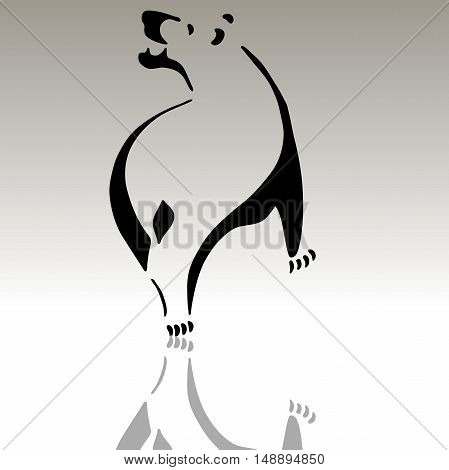 Very high quality original illustration of bear with shadow for tattoo or logo