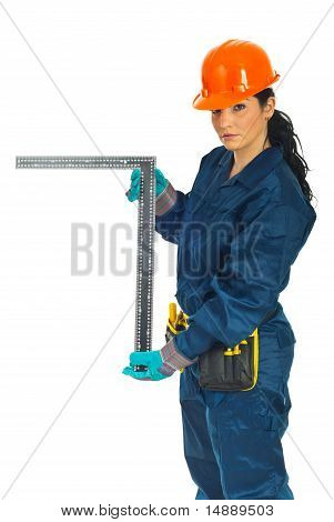 Constructor Woman Holding L Ruler
