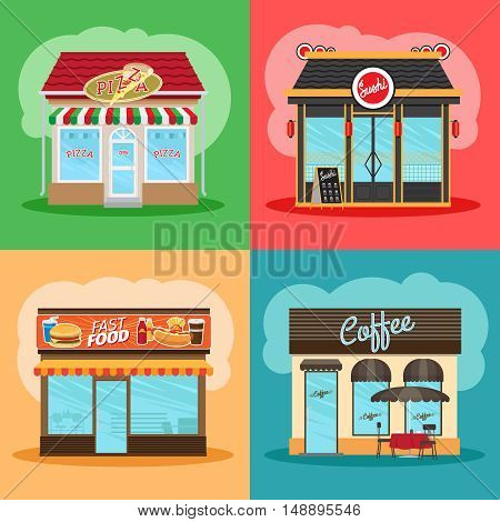 Restaurant or fast food store front set. Cafe shop, pizza shop and downtown chinese market vector illustration