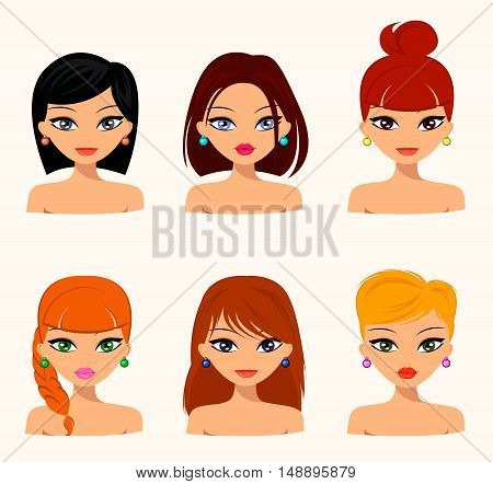 Young pretty women pretty faces with different hairstyles hair color. flat design beauty and fashion. Vector editable