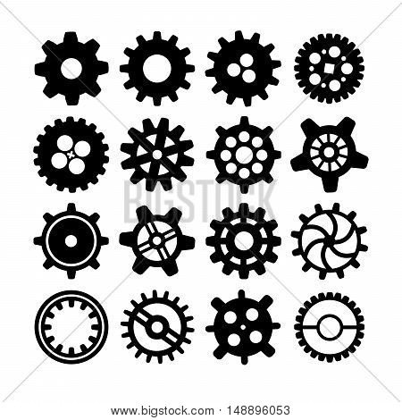 Set of black different silhouettes of cogwheels isolated on white