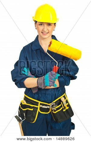 Worker Woman Holding Paint Roller