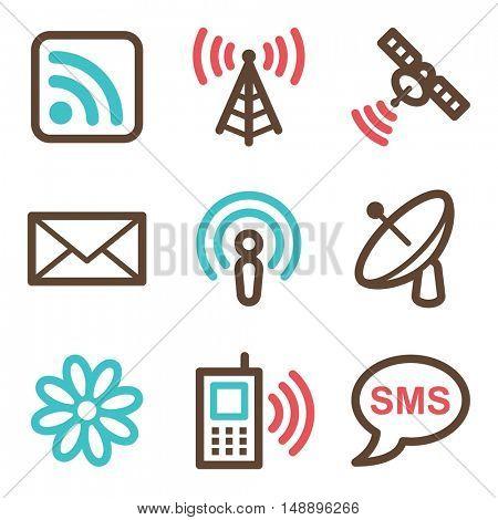 Communication web icons set. Electronics mobile symbols.