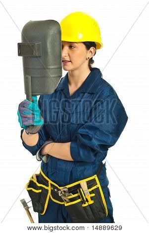 Worker Woman Holding Welding Mask
