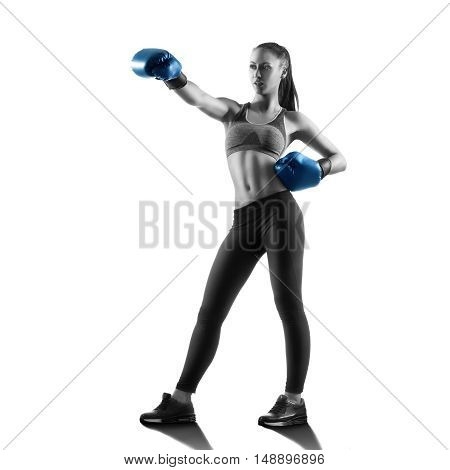 Woman Boxer Posing Isolated On White Background