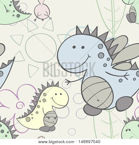 Baby dino seamless repeat wallpaper vector illustration