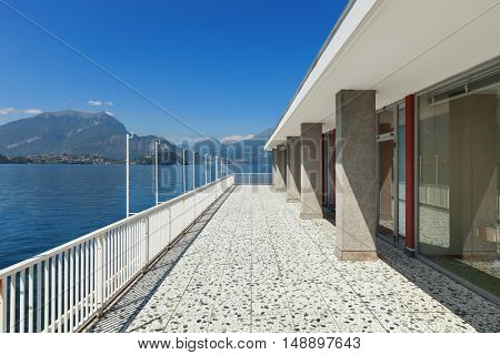 Balcony of an old penthouse, panoramic view