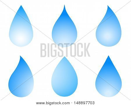 blue droplet icon set on white background