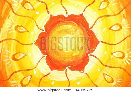 Closeup Of Bright Orange Painted Picture With Circle Pattern, Mandala Of Svadhisthana Chakra