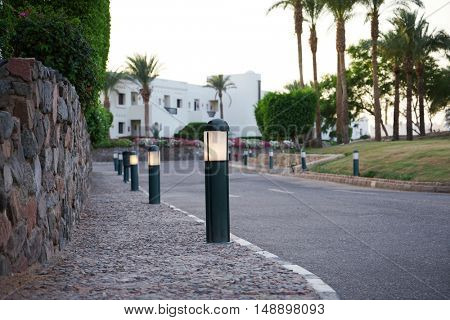 Small lights along the roads, street lighting