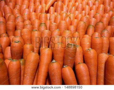 Bulk of fresh carrots in super market