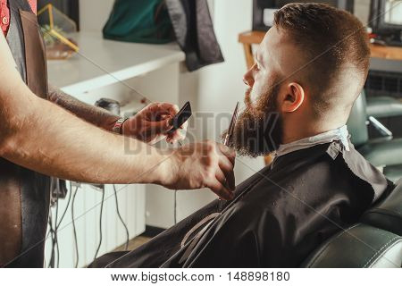 Young Bearded Man Getting Beard Haircut By Barber. Barbershop Theme