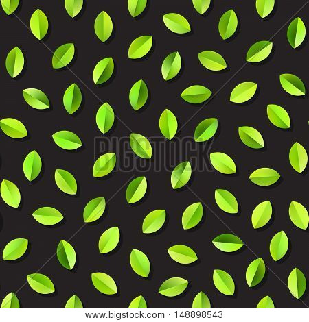 Vector Seamless Green Gradients Leaves Jumble Pattern