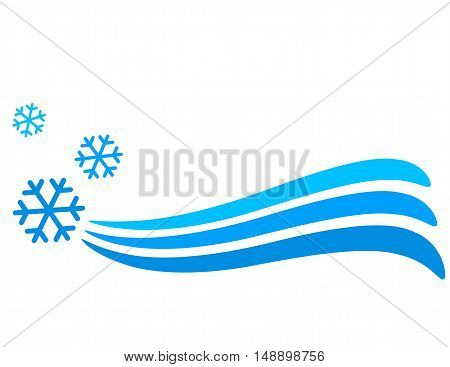 winter background with blue snowflakes icons and place for text