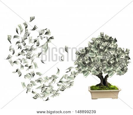 Money tree with dollar banknotes. Isolated on white background. 3d render
