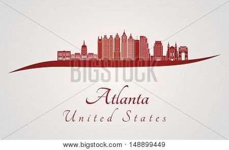 Atlanta skyline in red and gray background in editable vector file