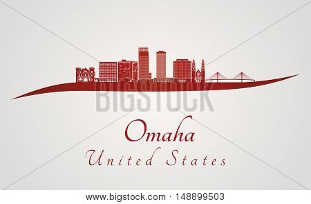 Omaha skyline in red and gray background in editable vector file